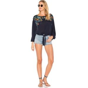 Free People Embroidered Flowers Navy 100% Rayon